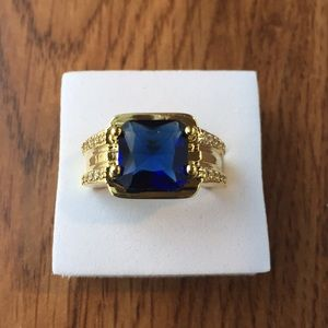 18K yellow gold filled 4 CARAT Sapphire size 7